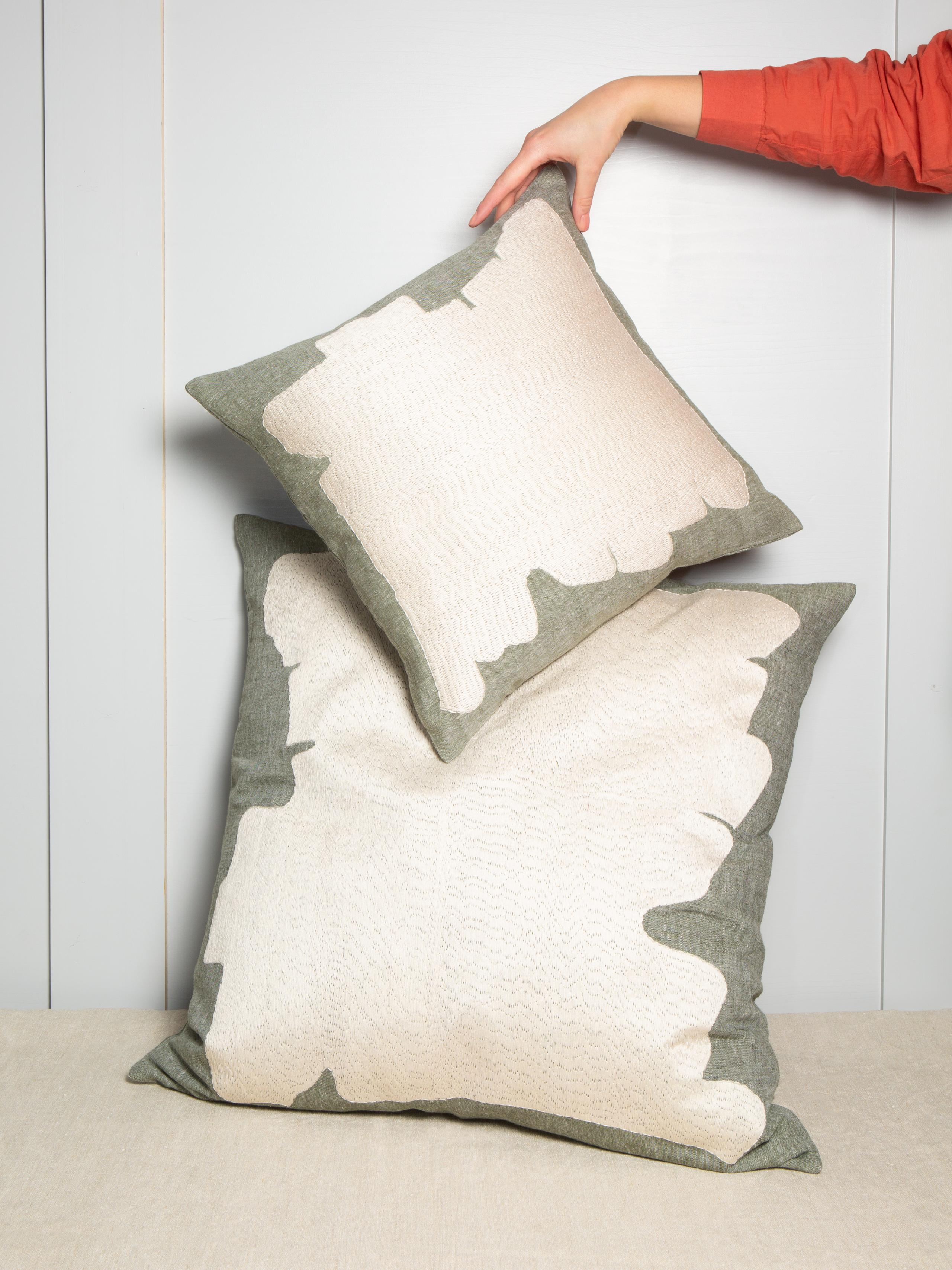 abstract pillow cover linen green off white
